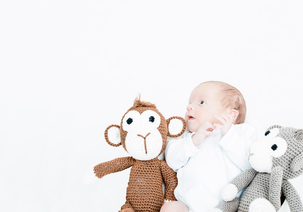 Babyfoto-Kinderfoto mit Plüschtier, fotografiert vom Fotograf/Fotostudio